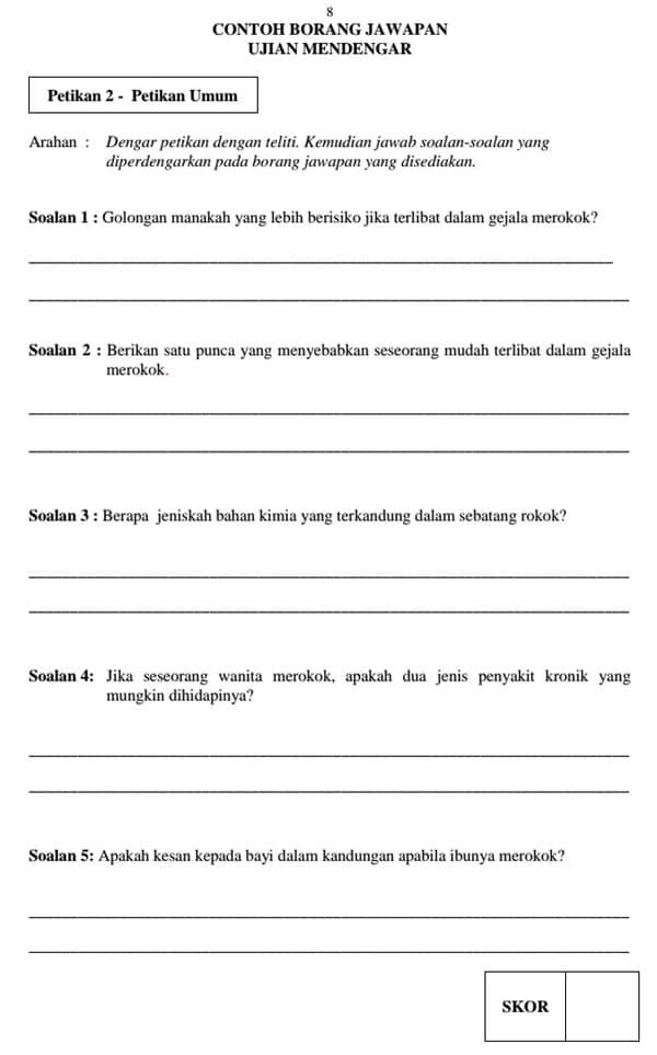 Contoh Soalan Ujian Lisan Bertutur Bahasa Melayu Pt3 Selangor O