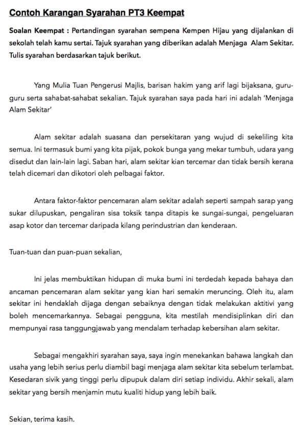 Contoh Karangan Syarahan Pt3 Format Bahasa Melayu