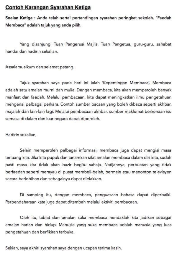 Contoh Karangan Syarahan PT3 (Format Bahasa Melayu)