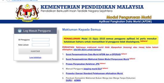 apdm kehadiran murid login kpm online