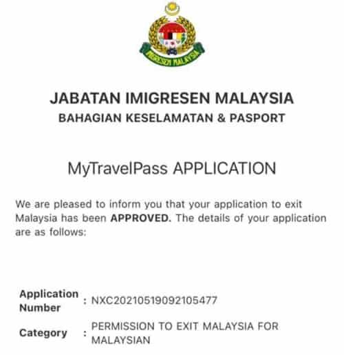 contoh mytravelpass imigresen online