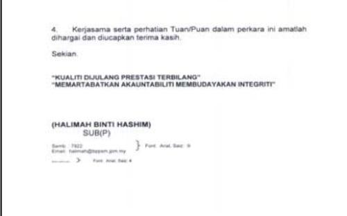 format memo kerajaan